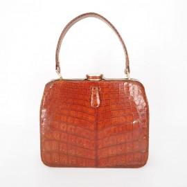 Bolso Cocodrilo marrón años 50