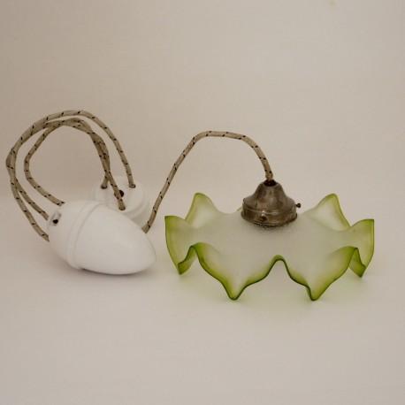 Lámpara Decó Cristal Opalino con Embolo